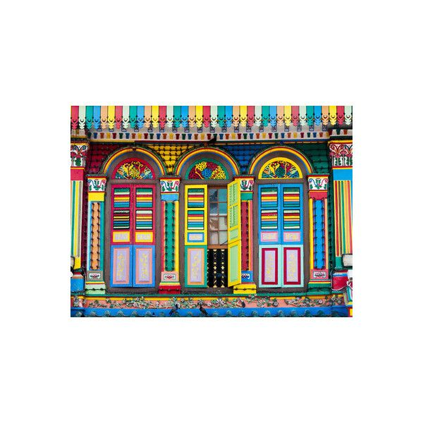 Singapore, Little India, Colourful Heritage Villa, Once the Residence... (€38) ❤ liked on Polyvore featuring home, home decor, wall art, floral & botanical, floral & botanical by type, flowers, flowers by species, subjects, photographic wall art and flower stem