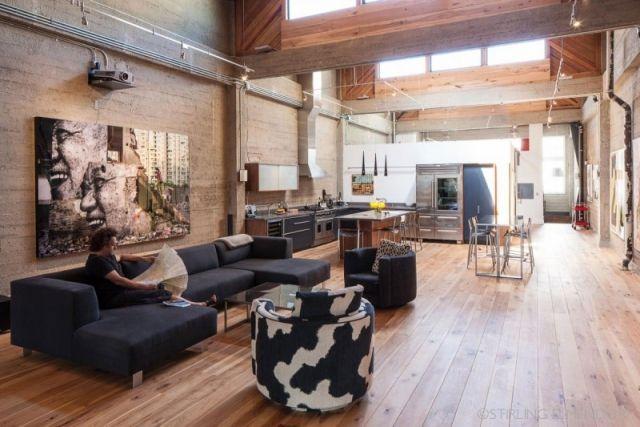 loft-einrichten-oberlichter-sichtbeton-waende-holzboden, Wohnideen design