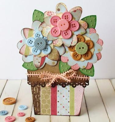 Flower Pot Card using Cricut Flowers.