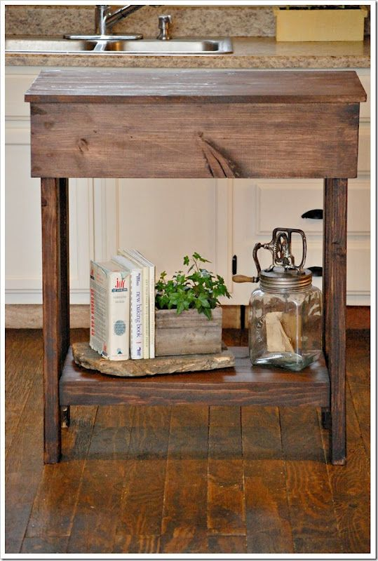 DIY: Kitchen Island. This is a very easy one to build. You could use it in a bathroom for toiletries and towels on the bottom or as a night stand. I want to make one of old cypress boards and put a piece of slab granite or marble (remnants) on top to use as a bakers table at the end of my larger island!