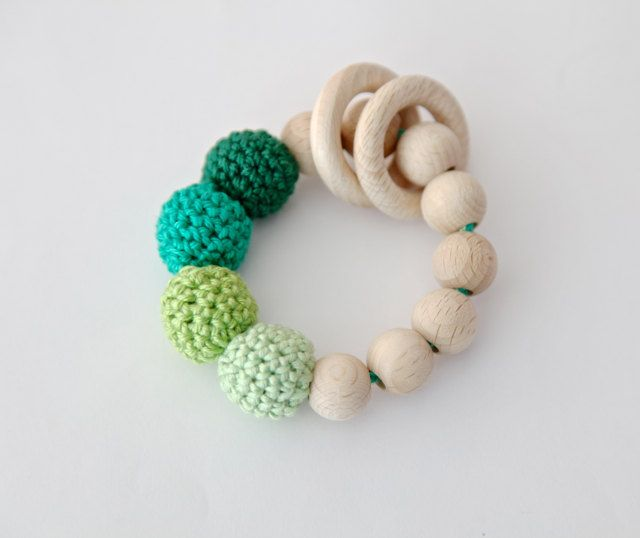 Shades+of+green+teething+ring+toy+with+crochet+wooden+by+nihamaj,+$17.00