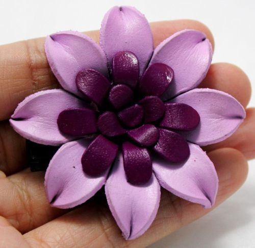 Handcrafted-Genuine-Leather-Purple-Floral-Hairpin-brooch-Hair-Clip-Flower-Women