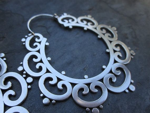 XL Ornate Tribal Hoops