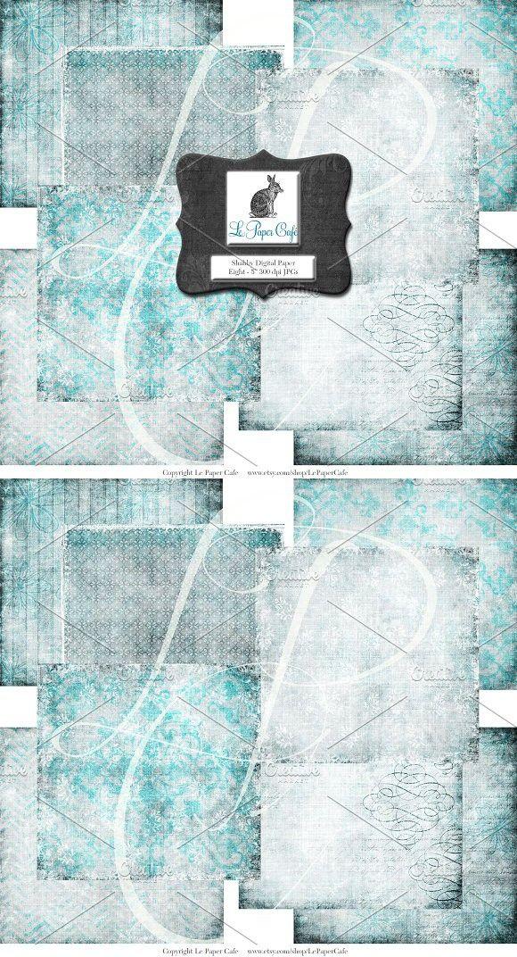 Teal Background Digital Paper Set #1. Patterns. $4.00