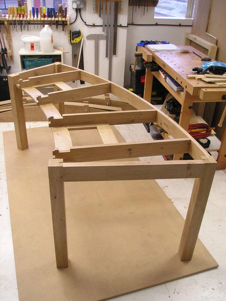 Solid wood curved desk framework