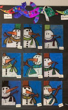 Met krijt een leuke sneeuwpop maken.