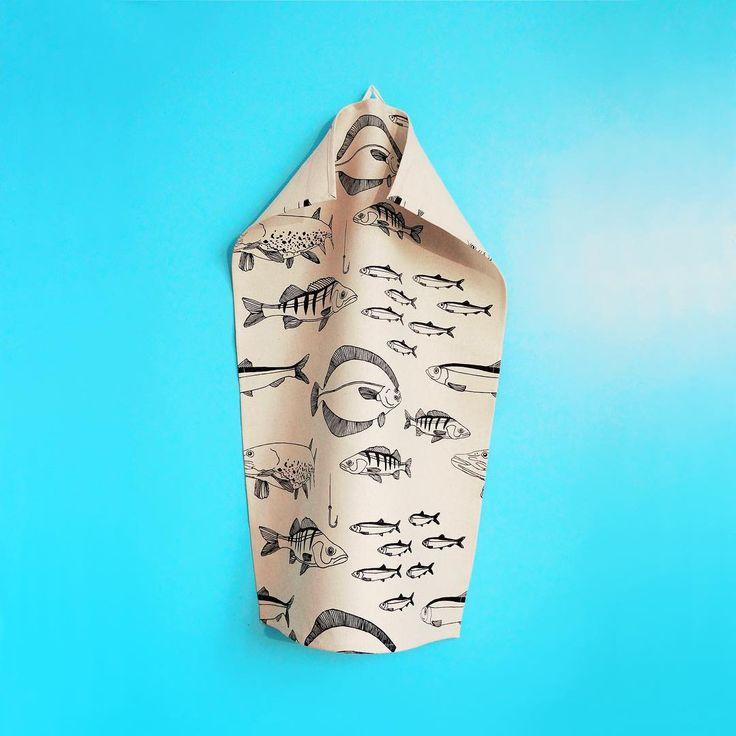Svante Tea Towel 🐟 hand printed & 100 % hemp !