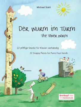 Nuotti: Der Wurm in Turm = The tower worm : 22 snappy pieces for piano four hands /   Michael Stahl. Helppoja nelikätisiä.  https://arsca.linneanet.fi/vwebv/holdingsInfo?sk=fi_FI&bibId=477798