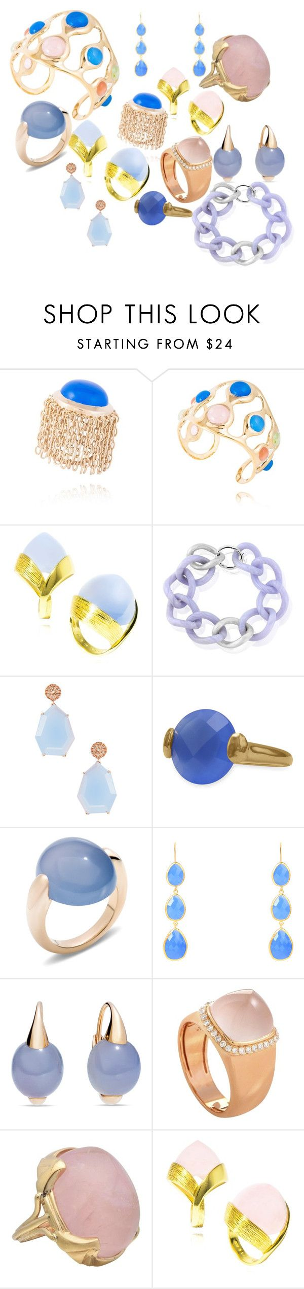 """Rose Quartz and Blue chalcedony beauty"" by mateobrown-jewellery on Polyvore featuring Maiko Nagayama, Suneera, BillyTheTree, Pomellato, Latelita and Fred"