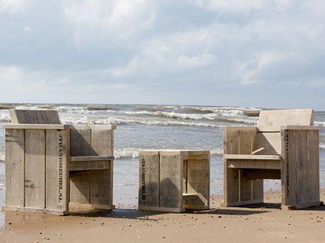 Steigerhouten meubelsets met kussens - Strandmeubel.nl : Set 3 Tuinset met krukje