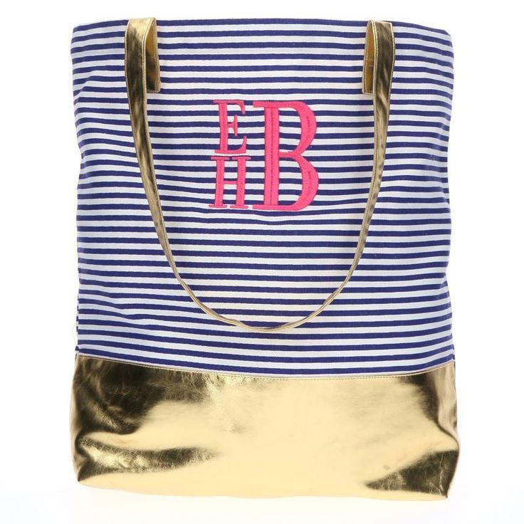 Metallic Stripe Navy Monogrammed Tote Bag