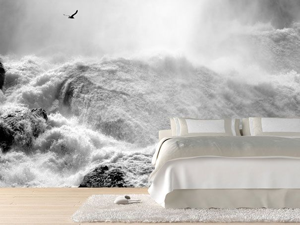 Great artistic looking bedroom with this stormy waters wallpaper. #wallpaper #wallmural #wall #home #bedroom #xtdeco #welovedeco