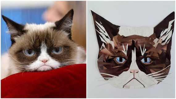 Grumpy Cat Portrait Mosaic from Pieces of Magazines Cat by PinkBau