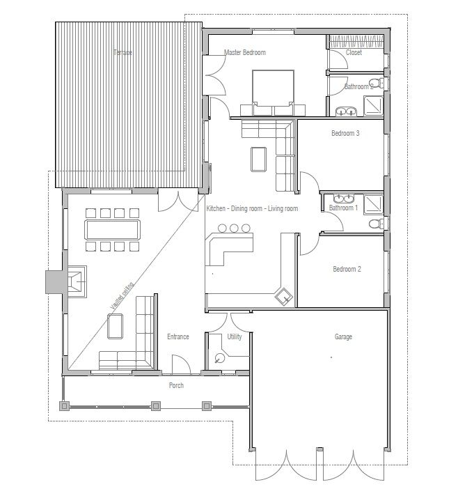 Simple Craftsman Home Plan With Big Backyard Area. Three Bedrooms, Two  Living Areas,