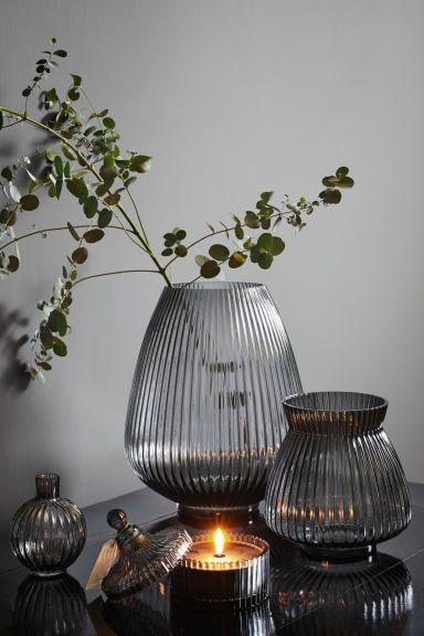 Стеклянная ваза - Дымчато-серый - HOME | H&M RU 1