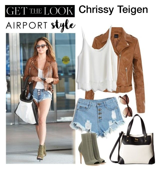 """Airport Style ✈ Christine Teigen"" by little-nightingale ❤ liked on Polyvore featuring New Look, Chicwish, Gianvito Rossi, Emma Fox, River Island, GetTheLook and airportstyle"