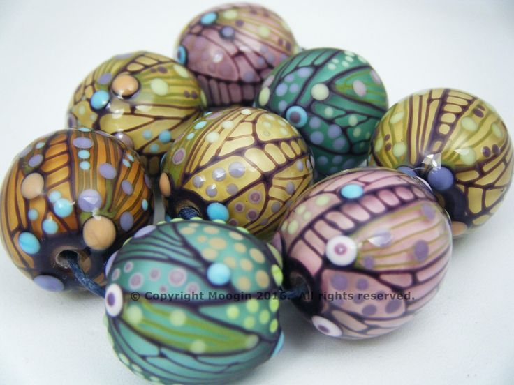 moogin beads mixed muted round bead set lampwork glass sra by mooginmindy