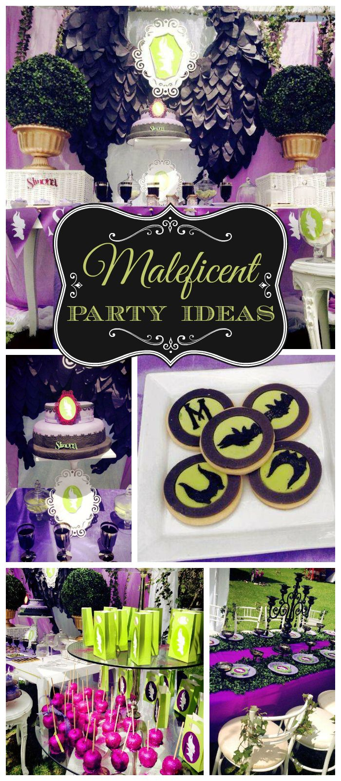 A Maleficent birthday party in green, purple and black with stunning cake and cookies!  See more party planning ideas at CatchMyParty.com!