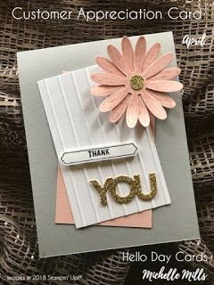 Michelle Mills - Independent Stampin' Up! Demonstrator Australia. FB: Hello Day Cards. Customer Appreciation card for April. Shop with me get rewarded. Australia only. All items are Stampin' Up!®    #eatsleepstamprepeat #gogetstamped  #stampinup #stamping #makeacardsendacard #loveitchopit #worldhelloday #hello #helloday #hellodaycards #appreciation #thankyou #daisies #stripes #gold #sparkle