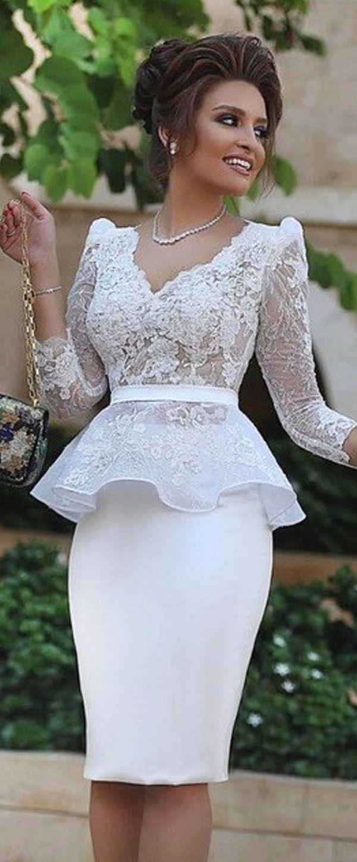 Pretty Satin & Lace V-neck Neckline Sheath Cocktail Dresses With Belt & Peplum
