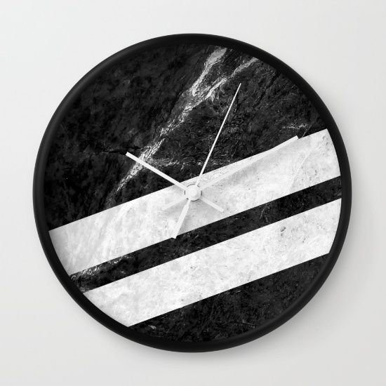 Black Striped Marble Wall Clock #marble #stone #texture #pattern #black #white #stripe #striped #wallclock #clock