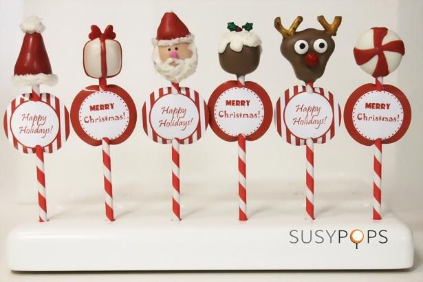 holiday cake pops (no how to) + link for free tag printaables
