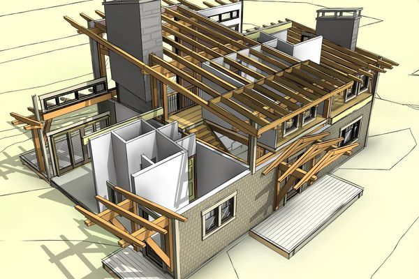 Split Rock Place Sparrow Lake Ontario Canadian Timberframes Design Exploded Timber House Roof Design Modern House Floor Plans Log Cabin House Plans