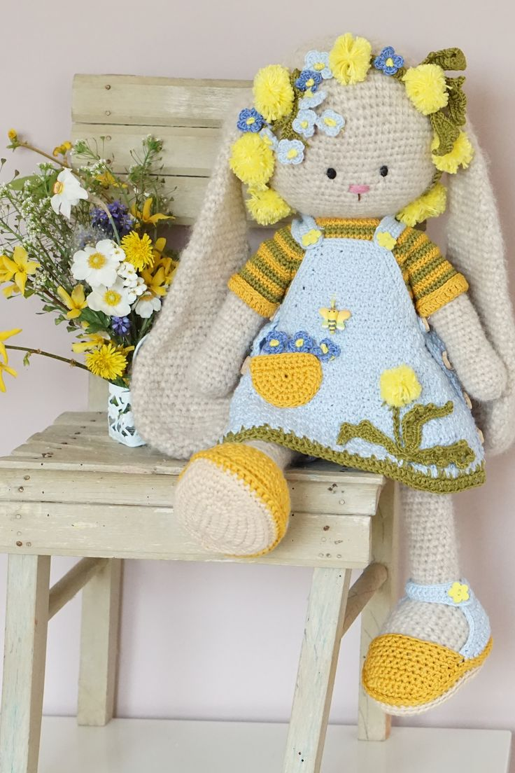 Crochet pattern – Farmgirls Outfit – garments for Kitty, Bunny, Lamb, Puppy toys…