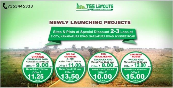 Are you looking to buy Lands, Plots or Sites in Bangalore then this is the right time to invest in. TGS Layous is offering 2-3 lacs rupees discount on Plots / Lands at Kanakapura Road, Electronic City, Mysore Road, Sarjapura Road and many other locations. #BangalorePlots