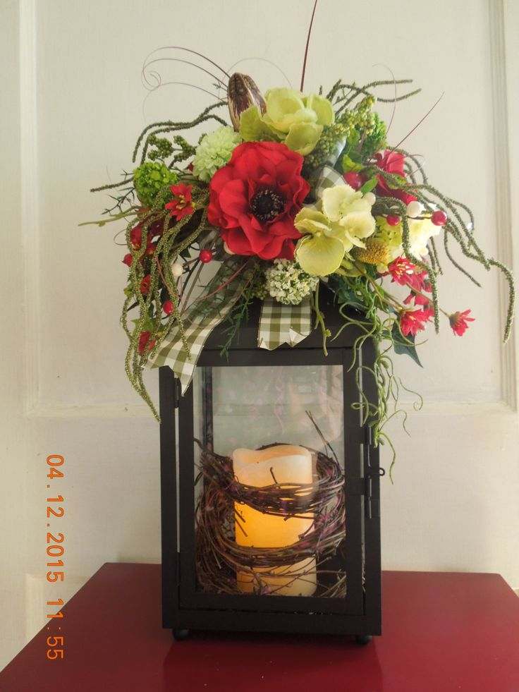 Red and Sage Spring Summer Floral Lantern Swag Arrangement-Great Mothers Day Gift !!! by 4Seasonsflorals on Etsy