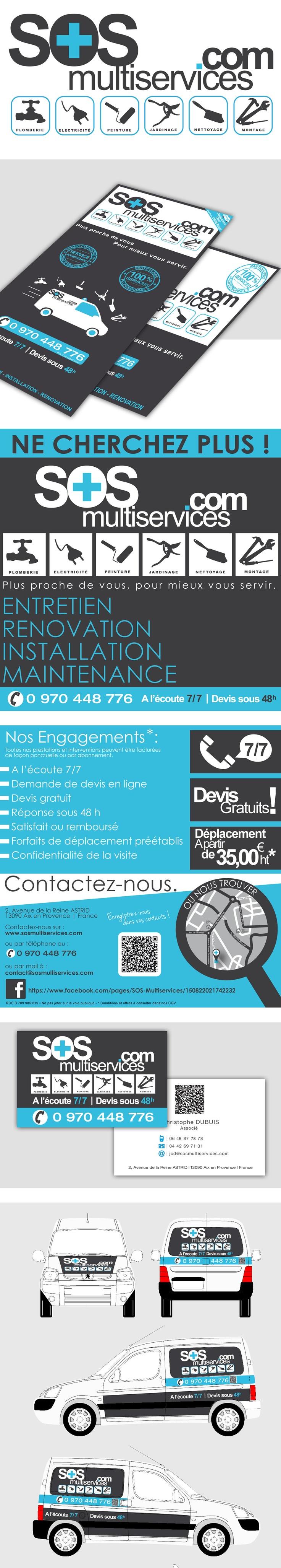 Sos Multiservices : Logo, design graphique, outils corporatifs, publicité imprimée, covering véhicule.