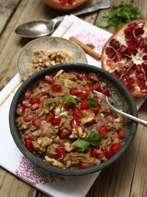 Fesenjan a persian pomegranate and walnut stew persian for Aubergine cuisine nottingham