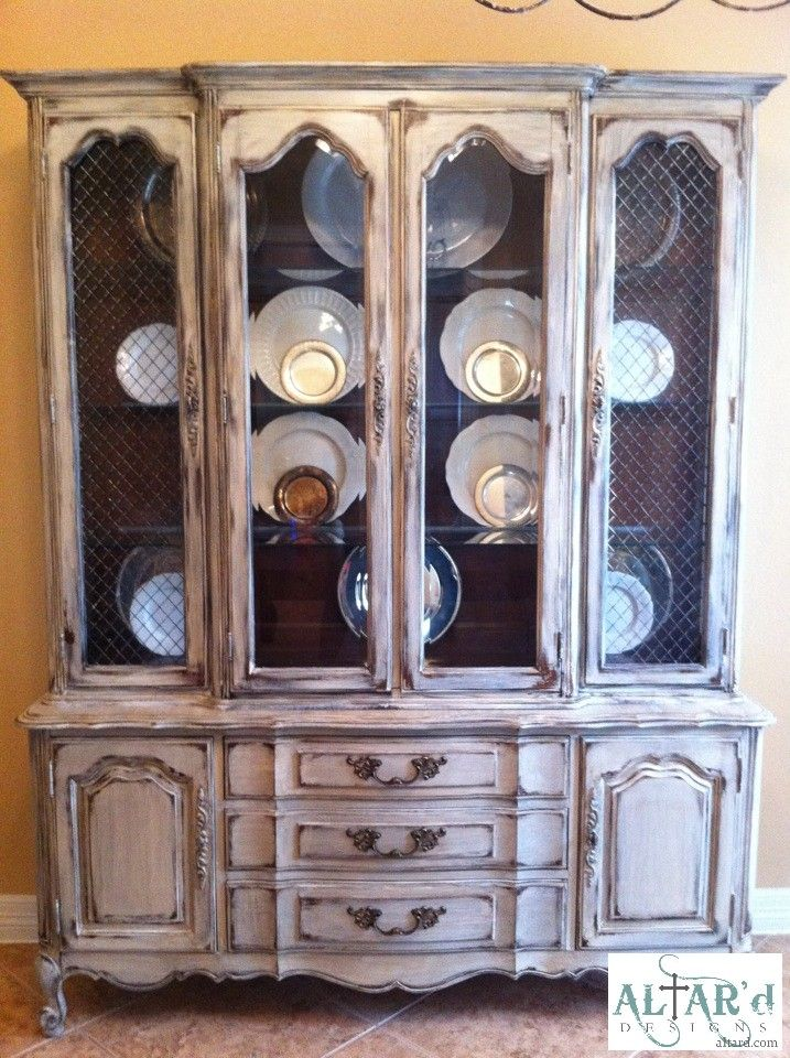 Distressed Cream French China Cabinet- really thinking this is what I will do with my naked one of 5 months... it needs to be done...