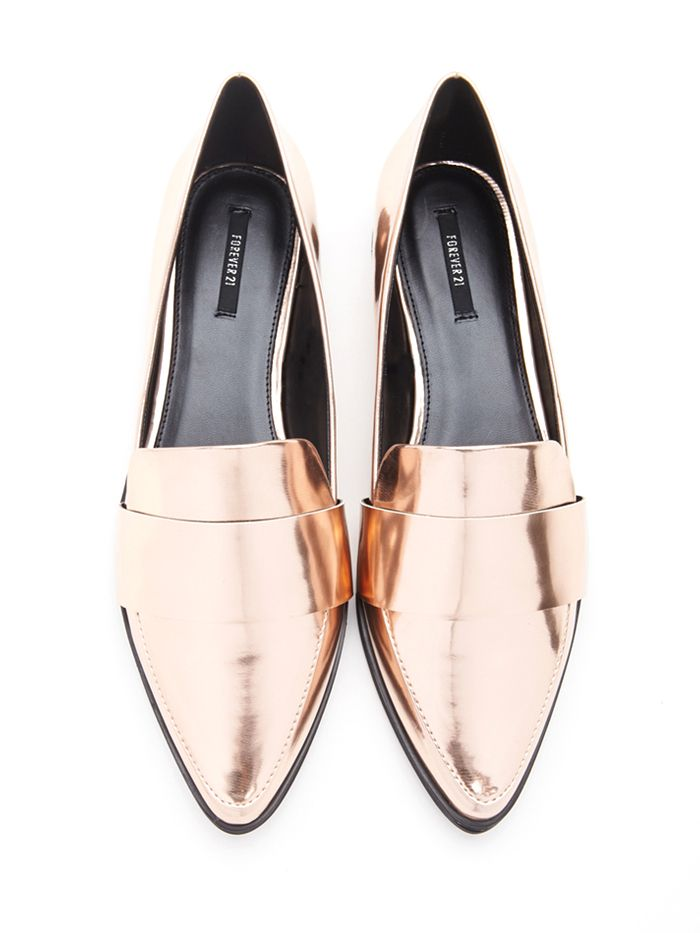 Forever 21 Faux Leather Pointed Loafers in Rose Gold // Metallic Loafers