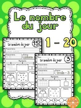Nombre du jours - les nombres 1-20. Activités quotidiennes pour les élèves qui commencent à étudier les nombres de 1 à 20.