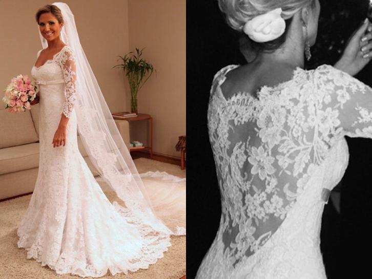 Elegante trouwjurk van kant & lange mouw bruidsjurk op maat