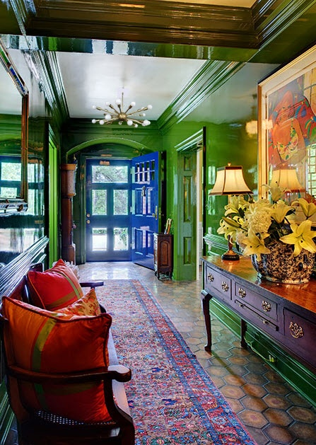 loving the emerald green shiny walls with the pops of tardis blue!  perhaps someday, some room