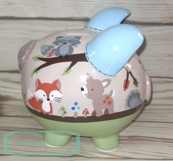 LARGE Forest Friends Artisan hand painted ceramic by Alphadorable, $108.00