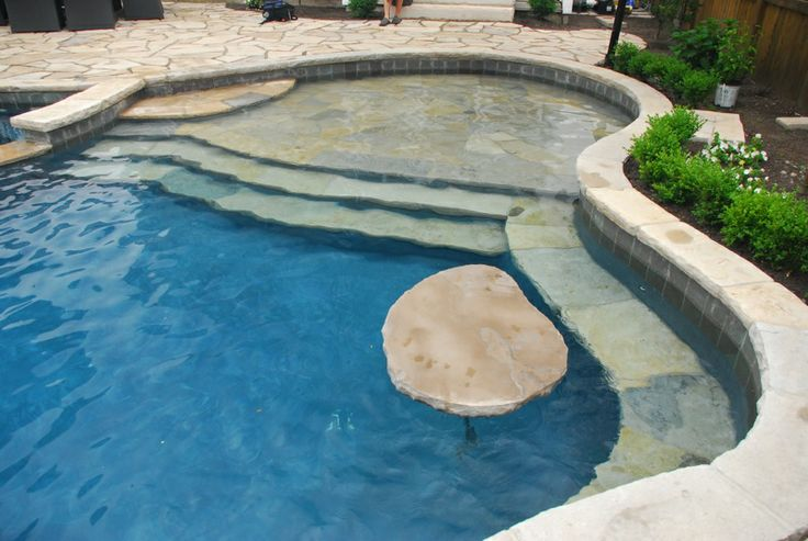 Inground pool with ledge for chairs pool finishes for Pool design with tanning ledge