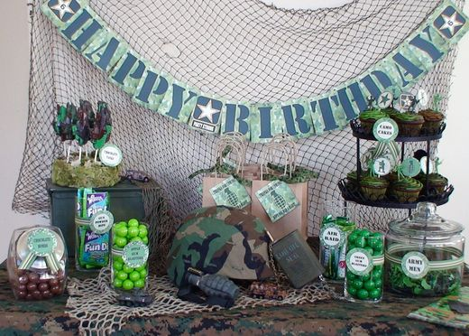 Army party birthday party ideas birthdays camouflage for Army party decoration ideas