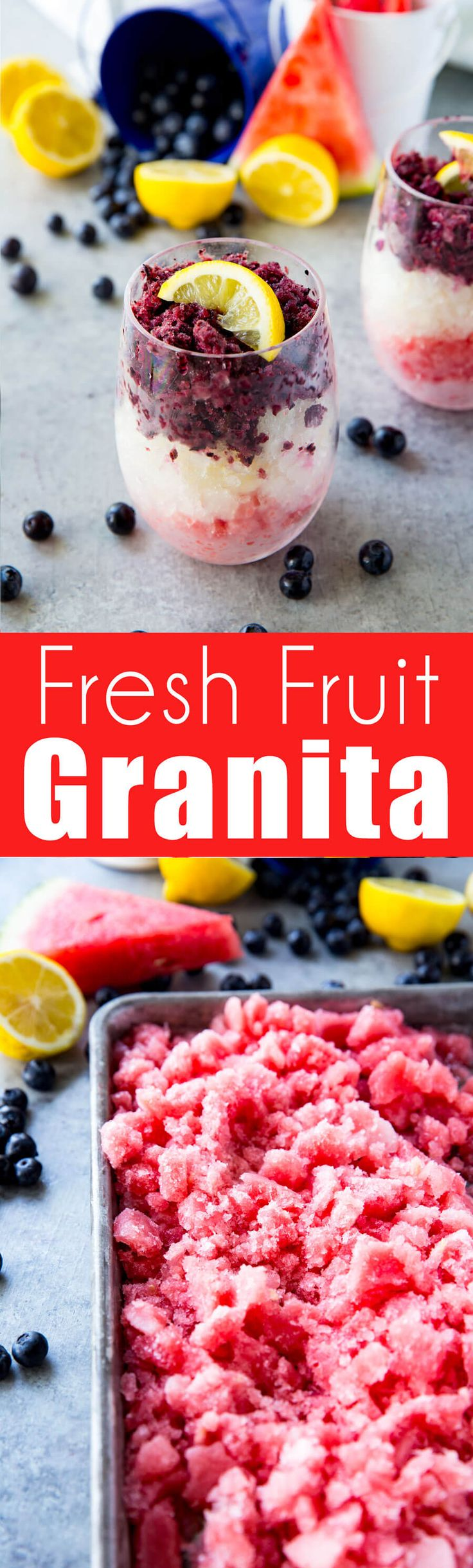 Fresh fruit granita, a layered fruit ice that is loaded with flavor
