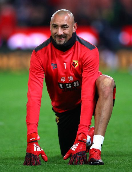 Heurelho Gomes of Watford warms up prior to the Premier League match between Stoke City and Watford at Bet365 Stadium on January 3, 2017 in Stoke on Trent, England.