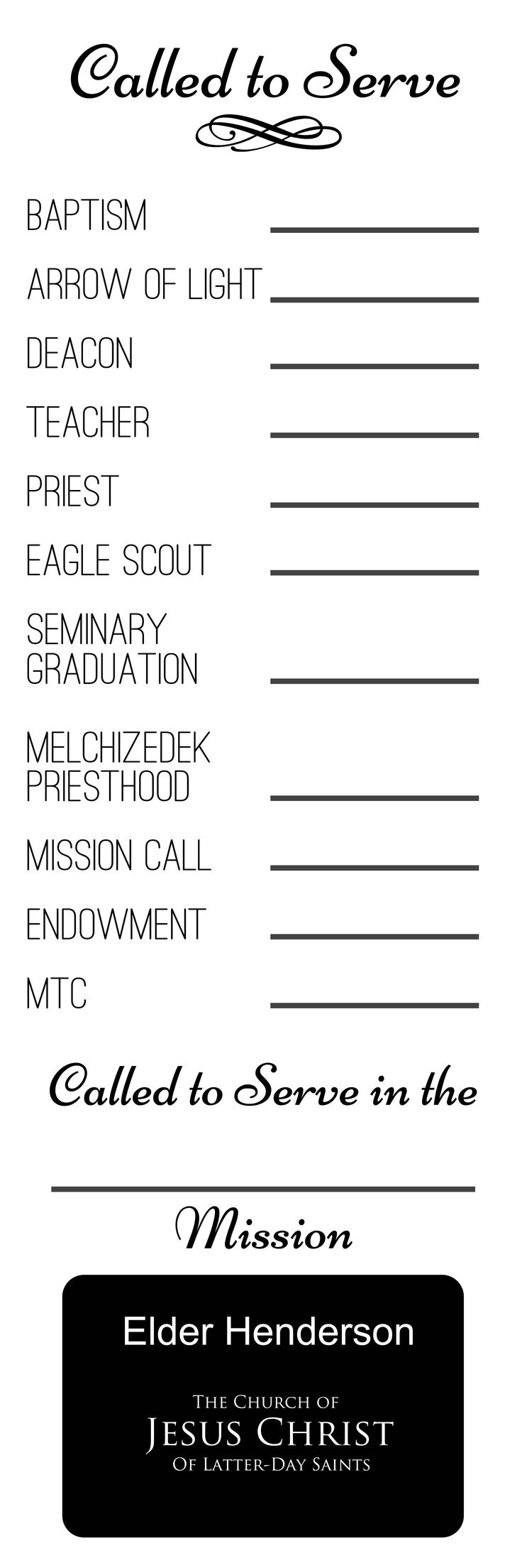 Free printable Called to Serve poster to frame and fill in as boys advance. Great visual for preparing to serve a mission.  . @beckymitchell