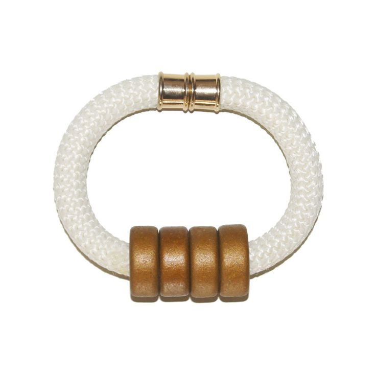 Ivory Rope bracelet with ceramic beads and magnetic clasp