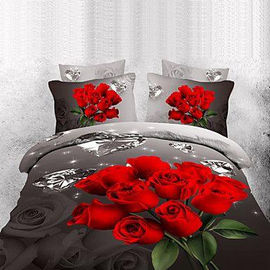 Maison d'or diamonade rosa set biancheria da letto tre dimensioni con stampa floreale 4 pezzi – EUR € 25.78