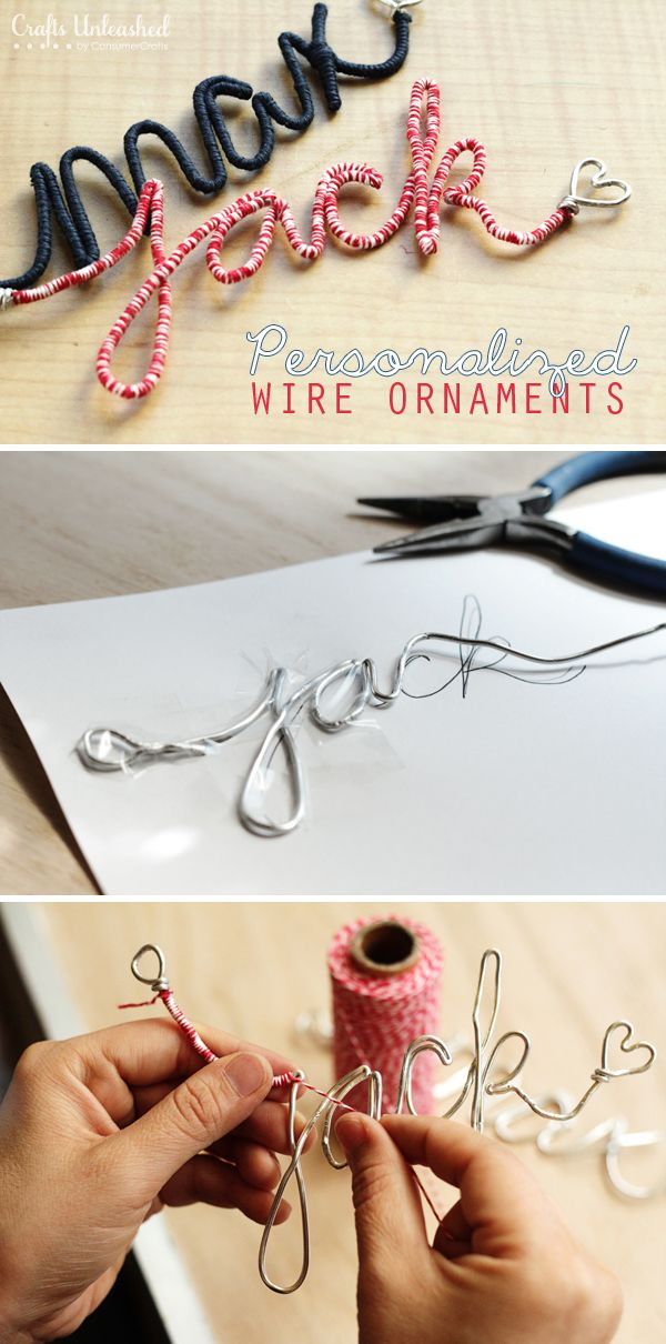 Handmade Christmas ornament ideas using wire and name for personalized holiday ornament