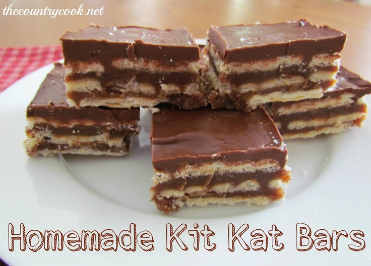 Homemade Kit Kat Bars  Ingredients:  72 Club Crackers  1 cup butter (2 sticks)  2 cups graham cracker crumbs  1 cup light brown sugar, firmly packed  1/2 cup milk  1/3 cup sugar  2/3 cup creamy peanut butter  1 cup semi-sweet chocolate chips