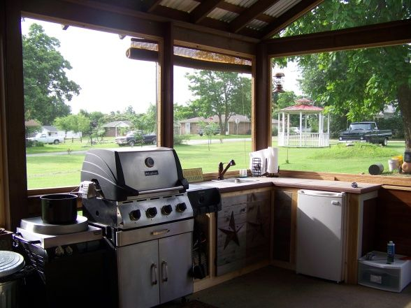 Outdoor Kitchen, My Husband And I Have Been Building This Screened In Outdoor  Kitchen With