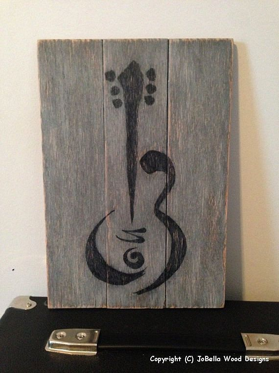 Guitar Distressed Wood Painting- Fits Pallet, Reclaimed Wood, Rustic, Shabby Chic, Industrial, & Rock and Roll Home Decor