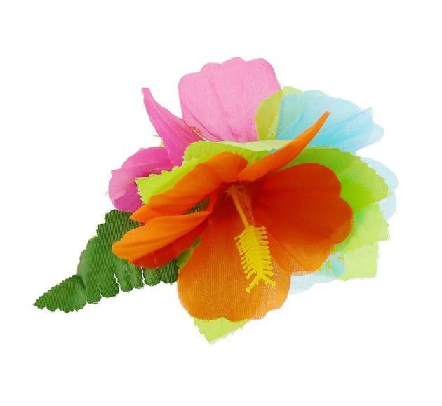 Przypinka hawajska - pomarańczowy, różowy, niebieski. Przypinki do włosów są świetnym pomysłem. Wcale nie musisz korzystać z usług fryzjera, aby stworzyć niepowtarzalną fryzurę. Rozpuść włosy, lub delikatnie je upnij, dodaj przypinkę w hawajskim stylu i gotowe- wyglądasz niesamowicie! :)